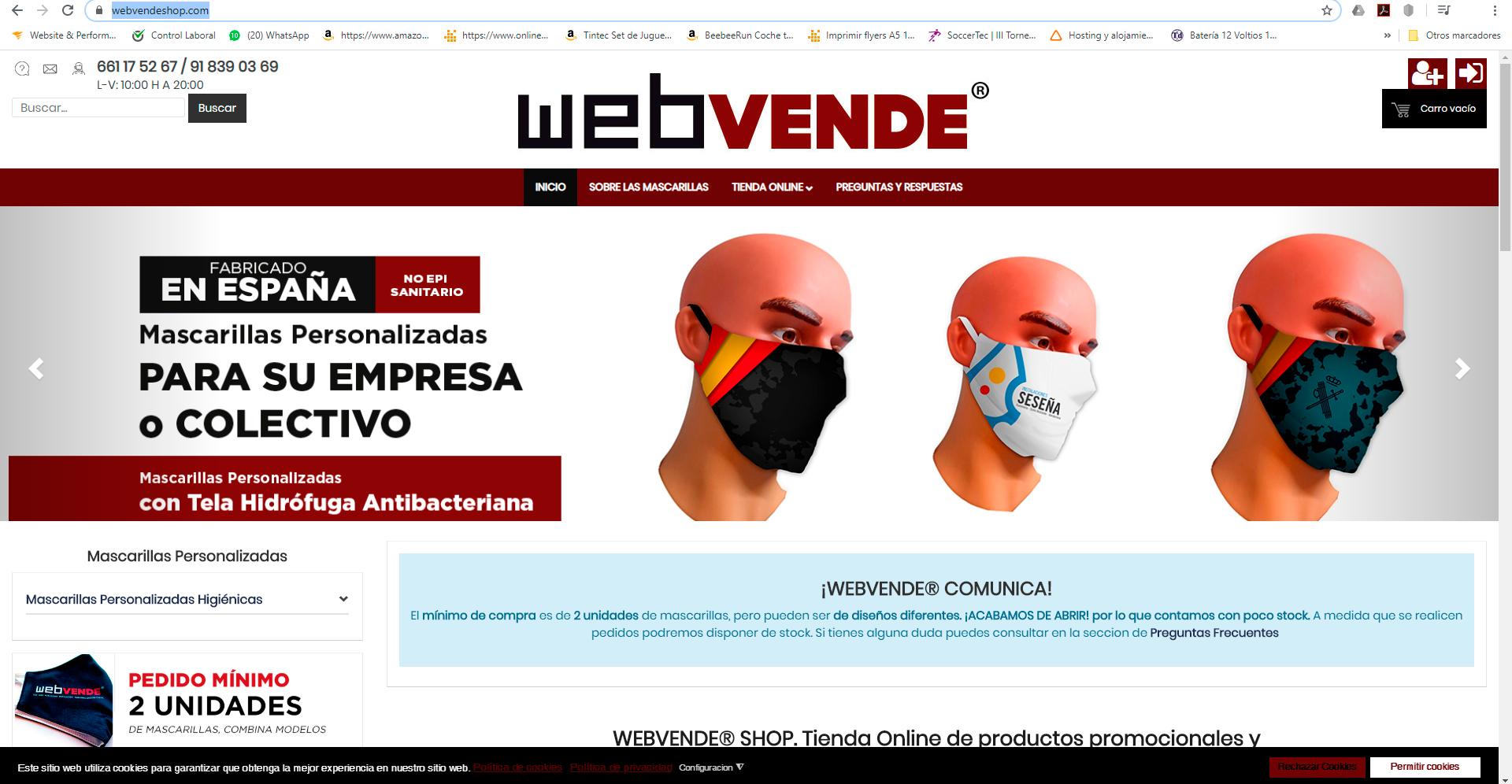 Nueva tienda online de mascarillas Certificadas, Hidrófugas y Reutilizables