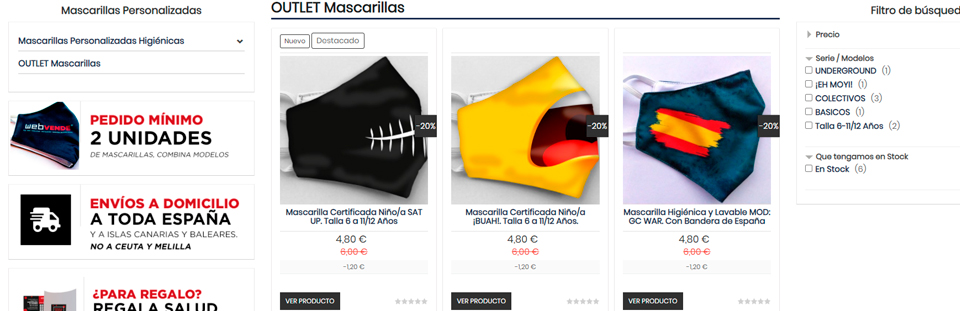 Creamos una nueva sección de Outlet en nuestra tienda online de mascarillas homologadas