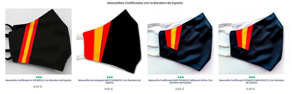Mascarillas Homologadas UNE 0065:2020 con la bandera de España
