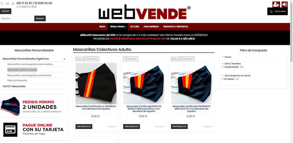 WEBVENDE® SHOP, tu tienda online de mascarillas Homologadas y Certificadas