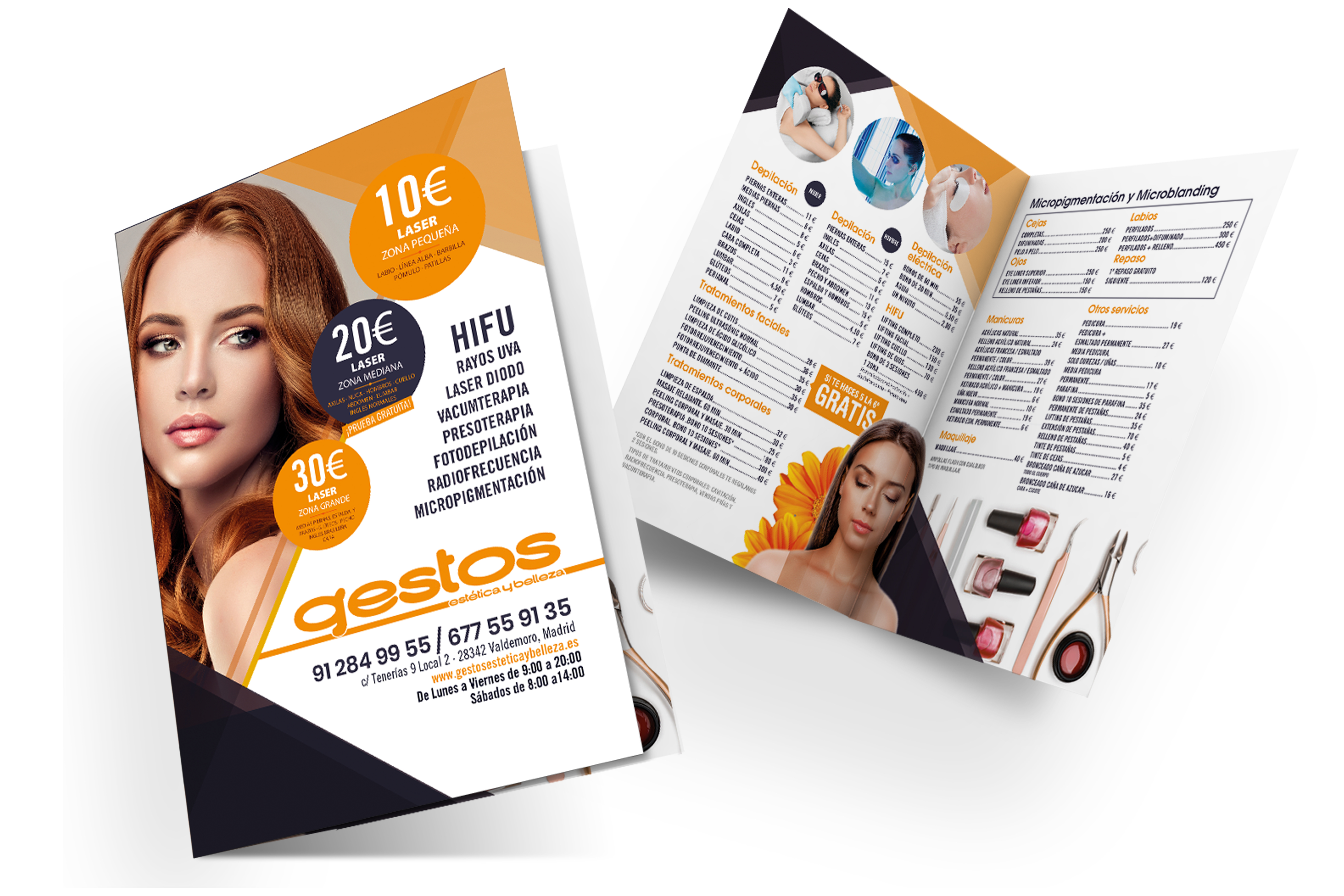 Diseño de dictico para el centro de estética GESTOS en Valdemoro