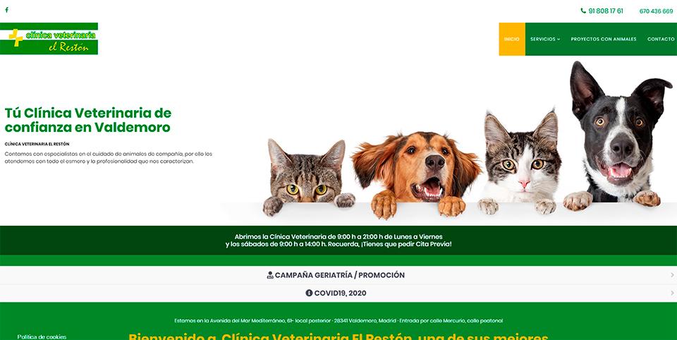 La Clínica Veterinaria El Restón tiene nueva Web y le ha salido GRATIS